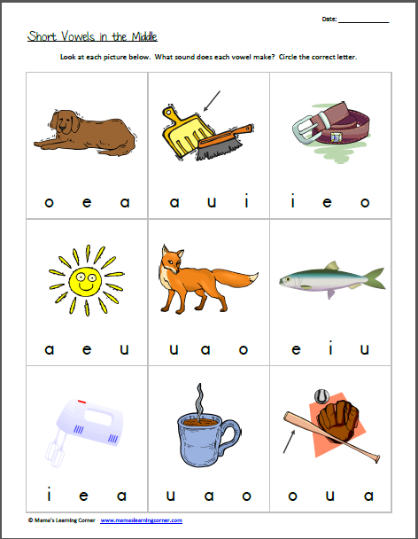 Recognizing Short Vowel Sounds Short Vowels In The Middle Vowel