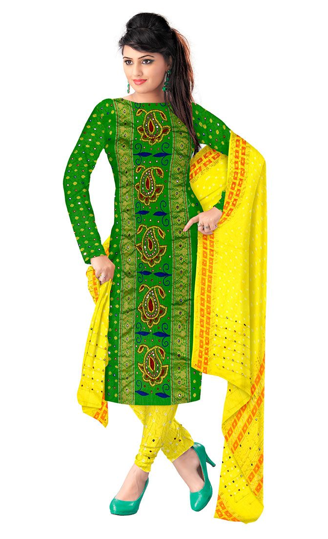 83240c2287691 Kala Sanskruti Green And Lemon Color Dress.