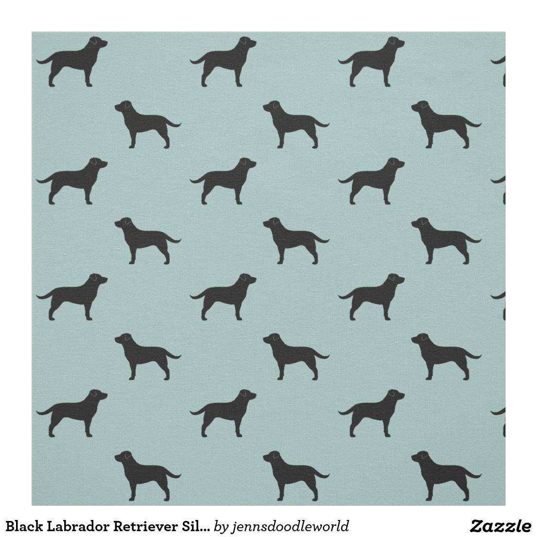 Black labrador retrievers dog silhouettes pattern fabric