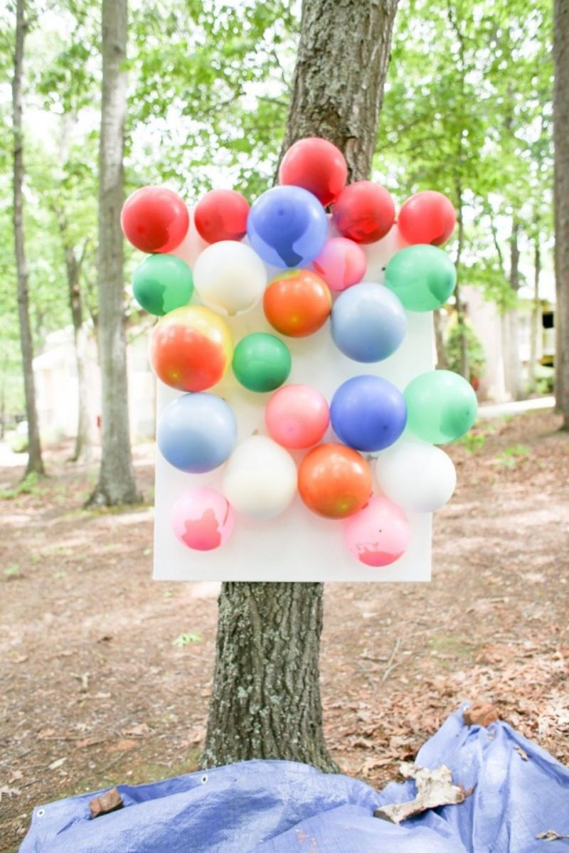 balloon painting set up in a park