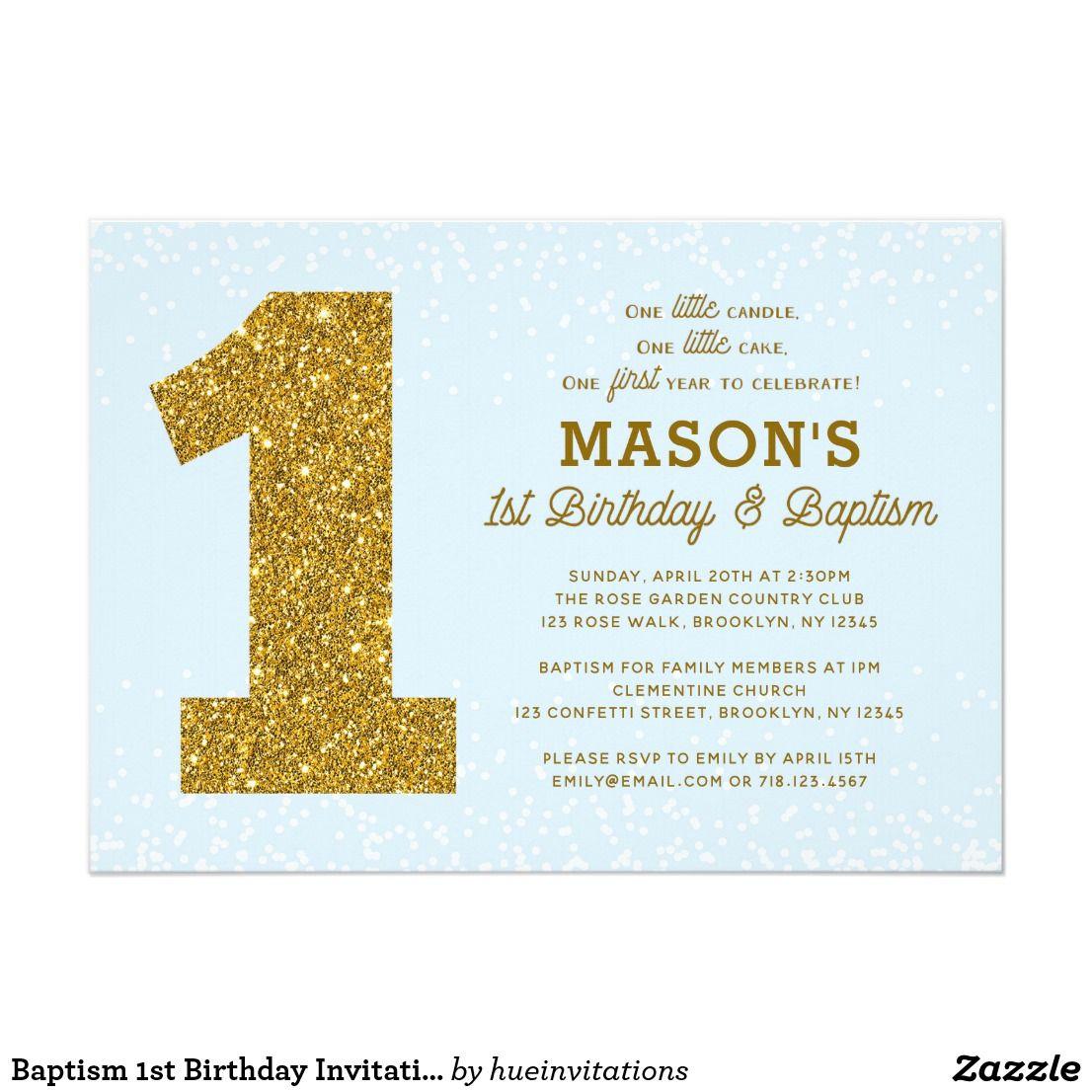First Birthday And Baptism Invitations 1st Birthday And: Baptism 1st Birthday Invitation Blue Gold Boy