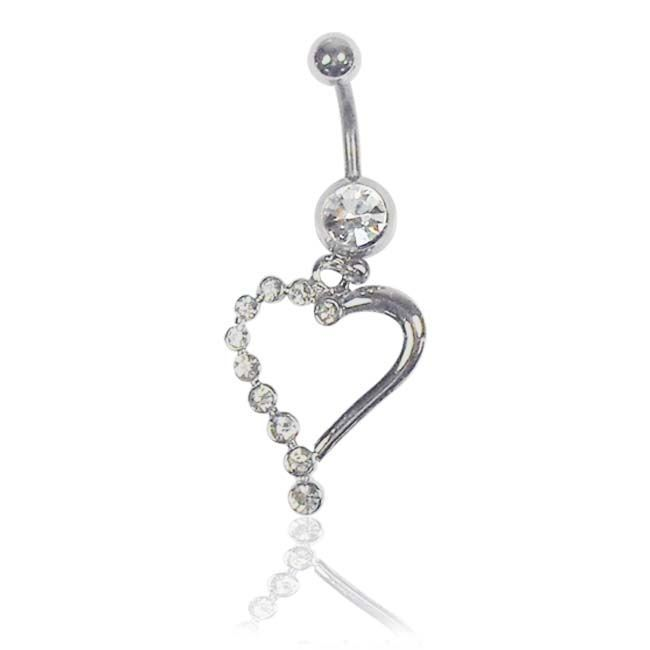 Supreme Jewelry Surgical-Steel 14G Clear Round-Cut Cubic-Zirconia Dangling-Heart Belly Ring