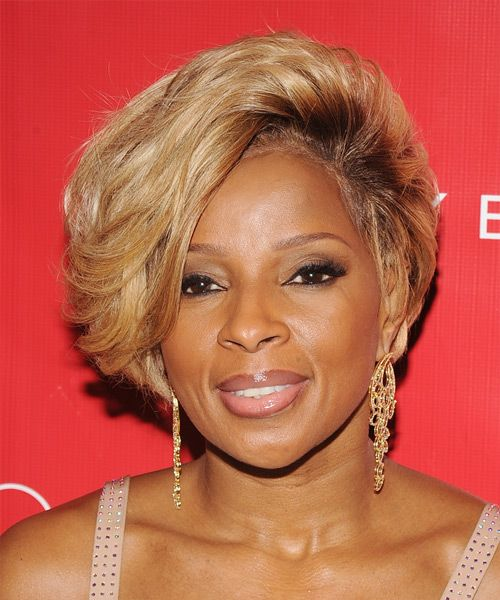 Mary J Blige Short Straight Formal Hairstyle With Side Swept Bangs Medium Blonde Golden