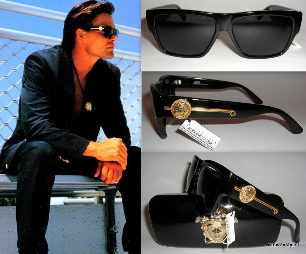 18077d61045 GIANNI VERSACE ICONIC RAREST MODEL 372  DM SUNGLASSES-COL 852 BLACK-1993-UNWORN   GIANNIVERSACE  GIANNIBLING