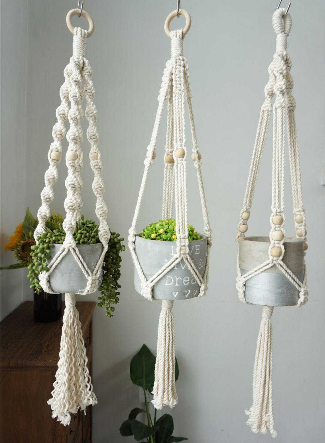 Photo of Macrame plant hangers, wall planter indoor wall hangings plant holder, rope crochet ceiling b…