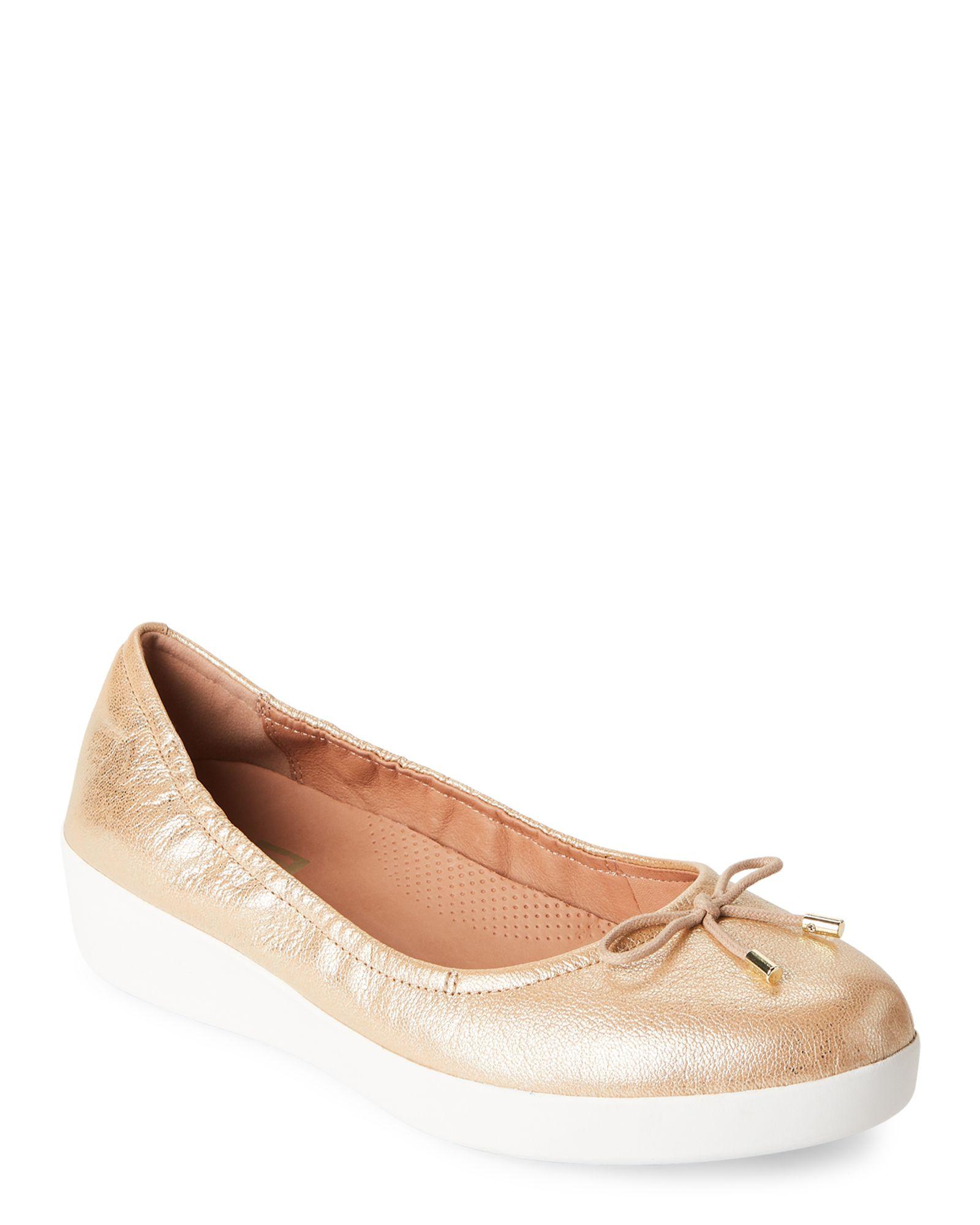 545e765bf7b3 Fitflop Gold Superbendy Ballerina Demi Wedge Flats