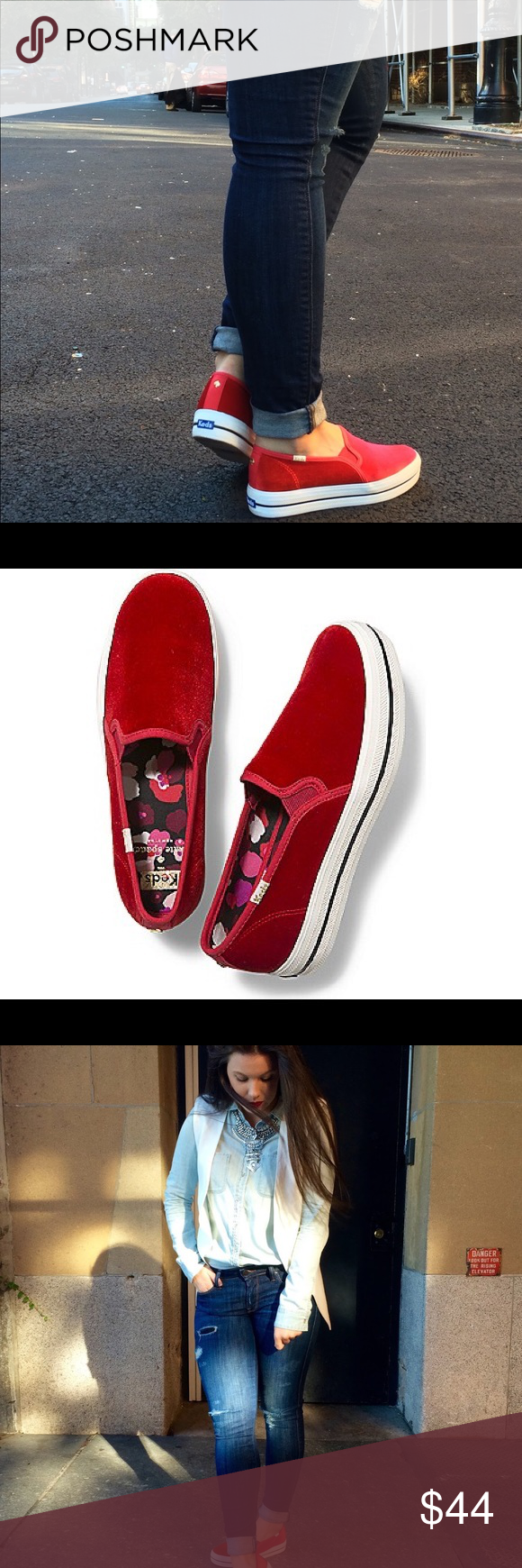 aca8ff4654fb ✨Kate Spade For Keds Red Velvet Slip On Sneakers✨ Beautiful and super  stylish Kate