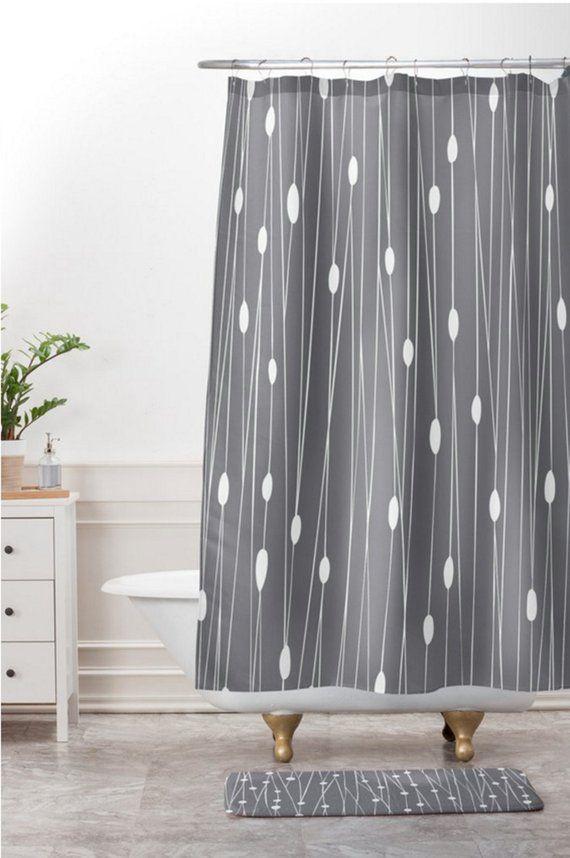 Modern Geometric Shower Curtain Bathroom Entangled Grey Design