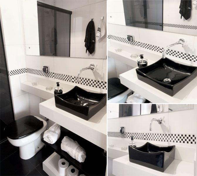 banheiro preto e branco  Projetos  Pinterest  Banheiro preto, Banheiros  -> Banheiro Pequeno Com Ceramica Preta