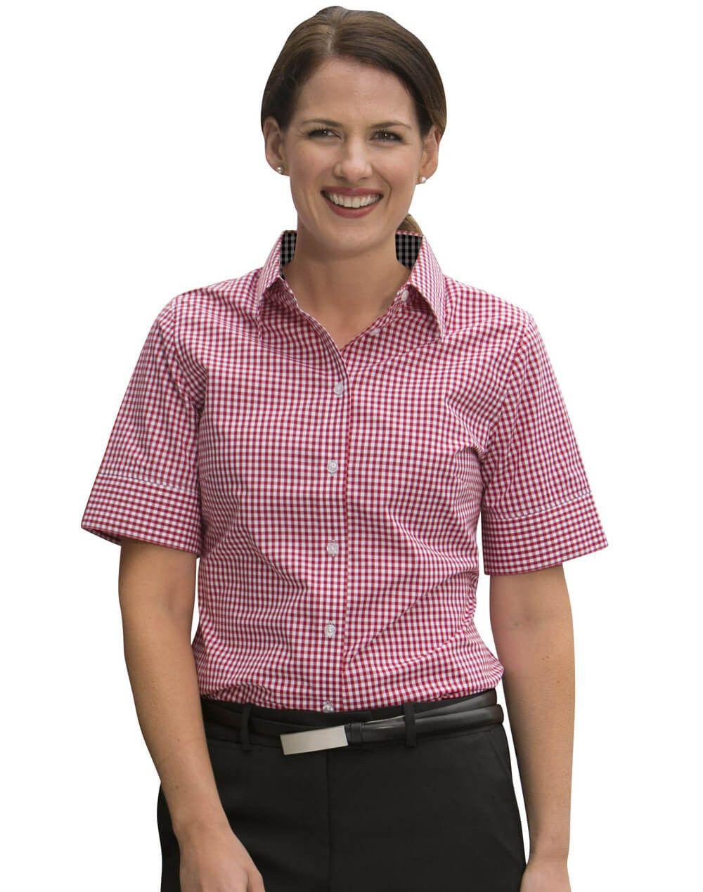 Winning Spirit Ladies' Gingham Check Short Sleeve Shirt
