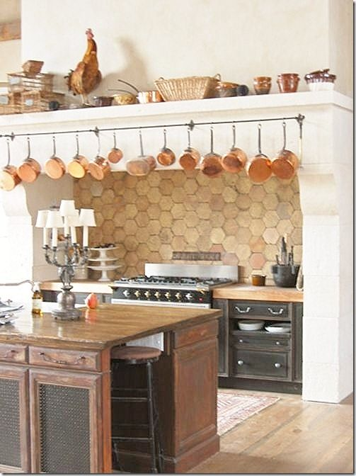 Terra Cotta Tile Backsplash Copper Pots