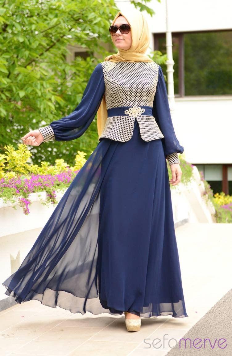 Sefamerve Abiye Elbiseler Pdy 4275 01 Lacivert Muslimah Dress Muslimah Fashion Hijabi Fashion