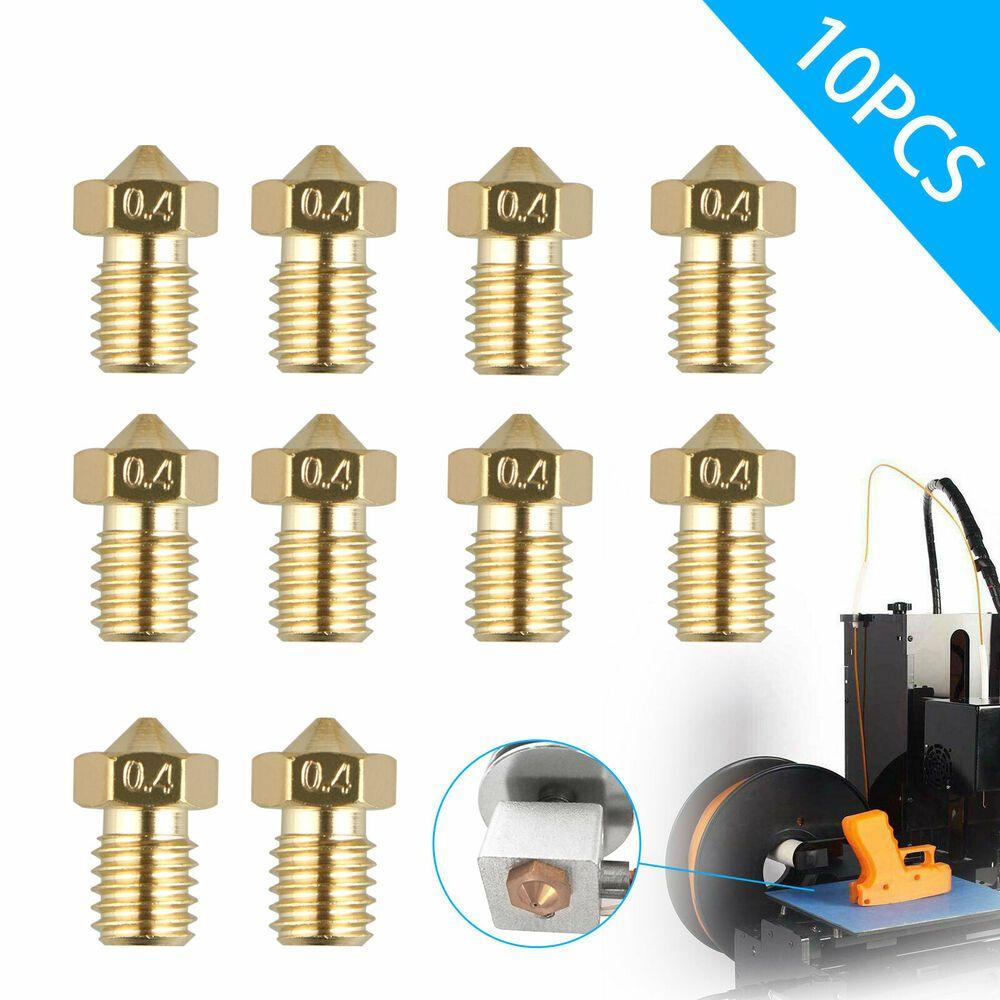 10pcs 3D Printer Extruder Brass Nozzle Print Head 0.4mm Thread 1.75mm For E3D M6
