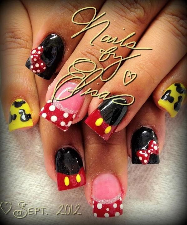 Mickey and Minnie Mouse Nails | Nails | Pinterest | Arte uñas ...