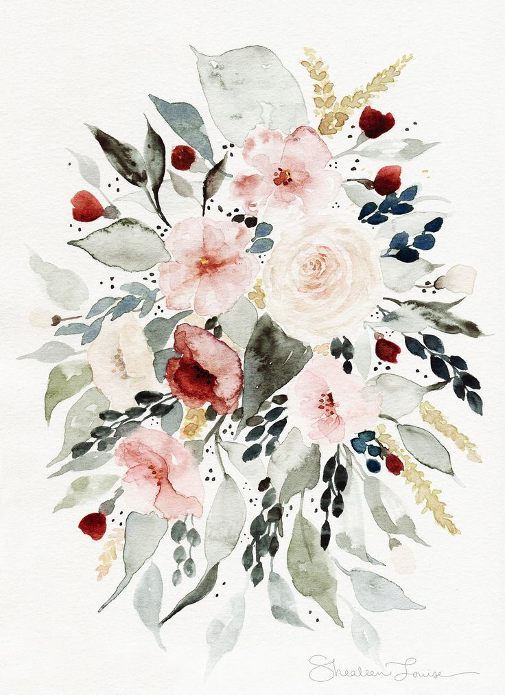 Loose Floral Bouquet - Watercolor Painting - PRINT | Shealeen Louise | Botanical and Flora artwork | Wedding & Bridal flowers