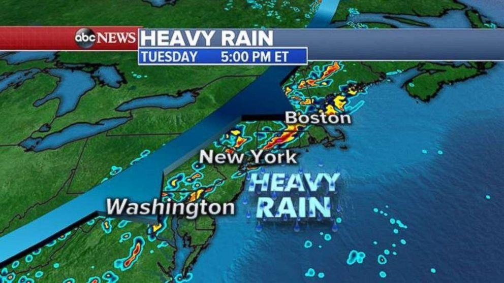 Heavy rain severe storms move into northeast http