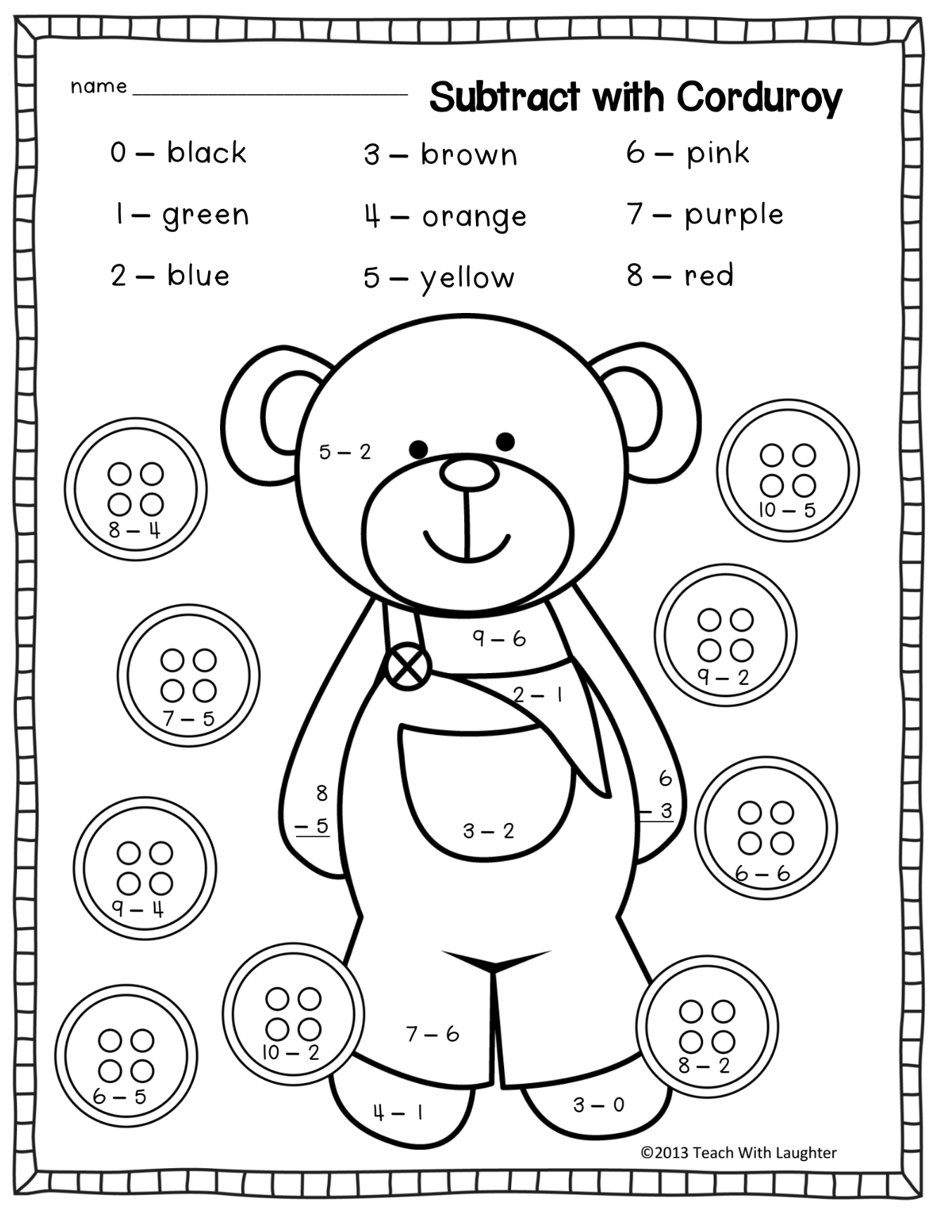 Subtract with corduroy - color by subtraction teddy bear | Teddy ...