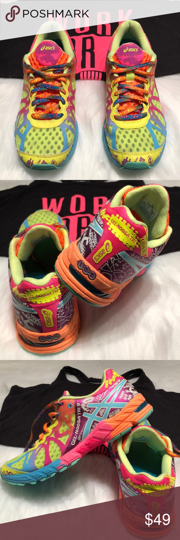 check out 63858 38d0c ASICS Gel Noosa Tri 9- Wm 7 EUC! Only worn in the gym! 😊 These are such  FUN tennis shoes and comfy! Theme is swim, bike, run on these Gel Noosa Tri  ...