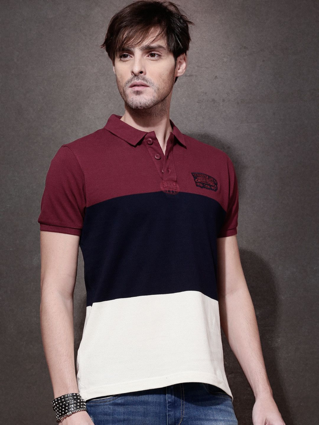 Roadster Maroon Navy Blue Cotton Striped Polo T Shirt Mens T