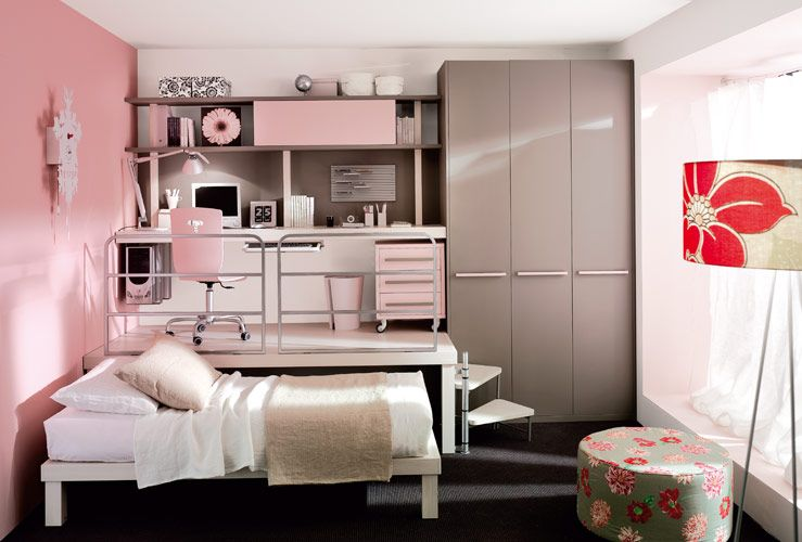 Attractive Small Bedroom Ideas For Young Adults Part - 2: Stunning Bedroom Ideas For Young Adults Let You Sleep Soundly: Pink  Minimalist Girls Bedroom Modern