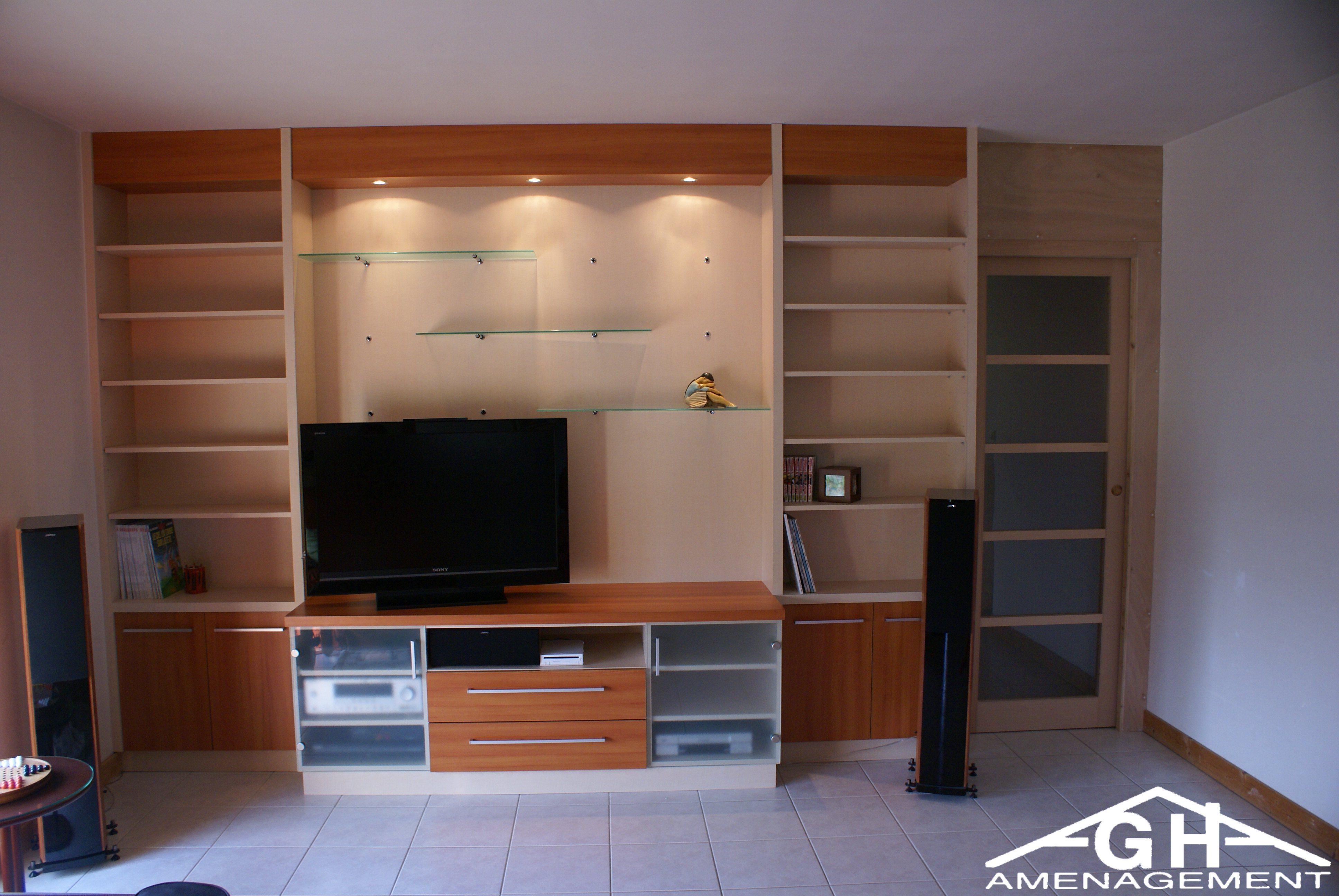 Meuble Tv Hifi Intégré meuble tv - hifi et bibliothèque + porte coulissante
