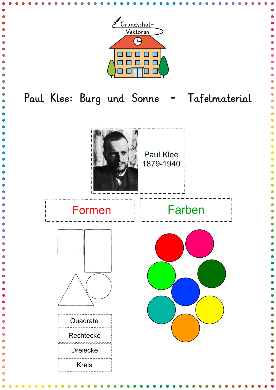 Paul Klee Burg Und Sonne Tafelmaterial Unterrichtsmaterial In Den Fachern Fachubergreifendes Kunst Paul Klee Klee Kunst Formen