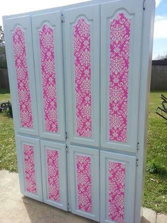 Diy mod podge scrapbook paper onto cabinet doors DIY decorate