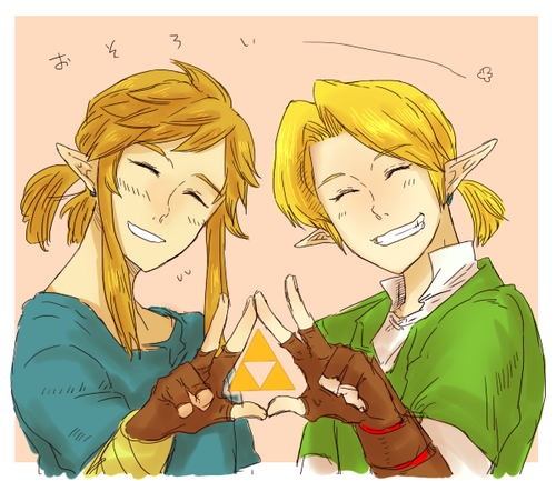 ponytail bros! Link from Ocarina of Time and Zelda Wii U