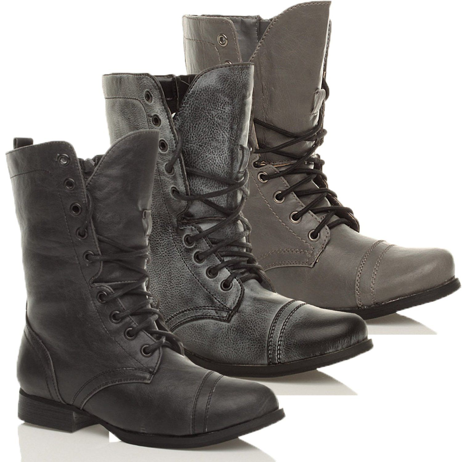 12c4c00d196 WOMENS LADIES MILITARY LACE UP ZIP ARMY FLAT LOW HEEL COMBAT ANKLE BOOTS  SIZE  Amazon.co.uk  Shoes   Bags