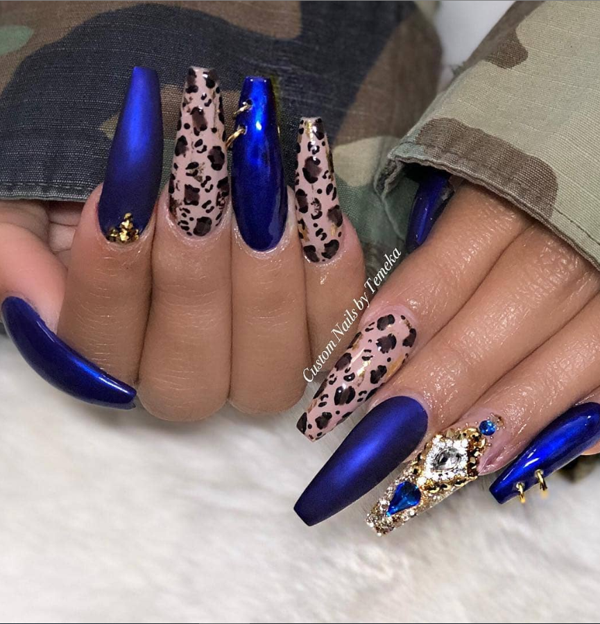 50 Fabulous Sparkly Giltter Acrylic Blue Nails Design On Coffin And Stiletto Nails To Try Now Latest Fashion Trends For Woman In 2020 Blue Nail Designs Royal Blue Nails Navy Blue Nails