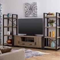 consola loft industrial rack mesa tv hierro vintage madera ... - Muebles De Herreria Para Tv