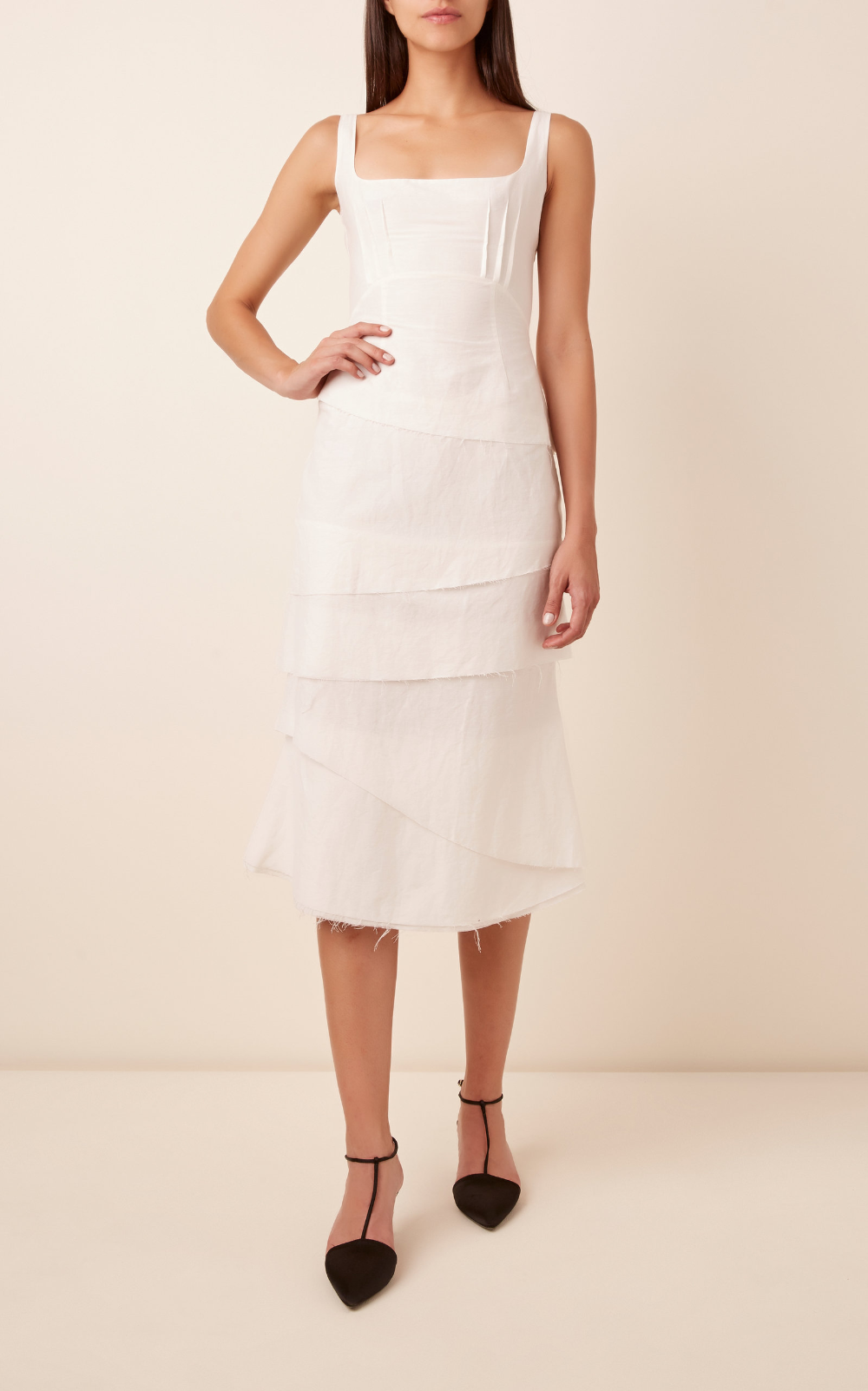 Brock Collectiontiered Cotton Blend Midi Dress In 2020 Midi Dress Sleeveless Dresses Midi Dress