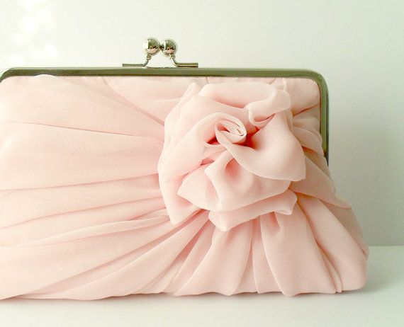 Items similar to Light Dusty Pink Chiffon Rose Clutch - Size Large - MADE TO ORDER on Etsy