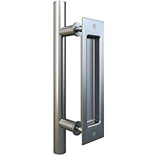 Amazon.com: Set para puerta corredera de acero inoxidable TMS con placa de granero puerta de madera maciza, WoodenSlidingDoor-Hardware: Home Improvement