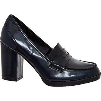 57115990d1f056 Navy Block Heel Penny Loafers