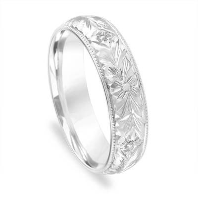 Hand Engraved Wedding Band Mens Vintage Ring 5 Mm Womens Unique Antique 14k White Gold Handmade