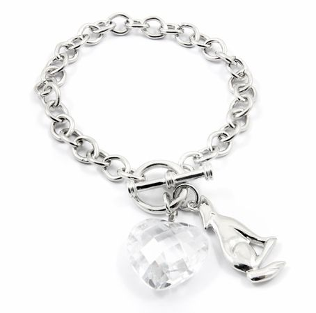 fe773e3cc28 Flora s Sterling Silver Heart and Wolf Charm Bracelet
