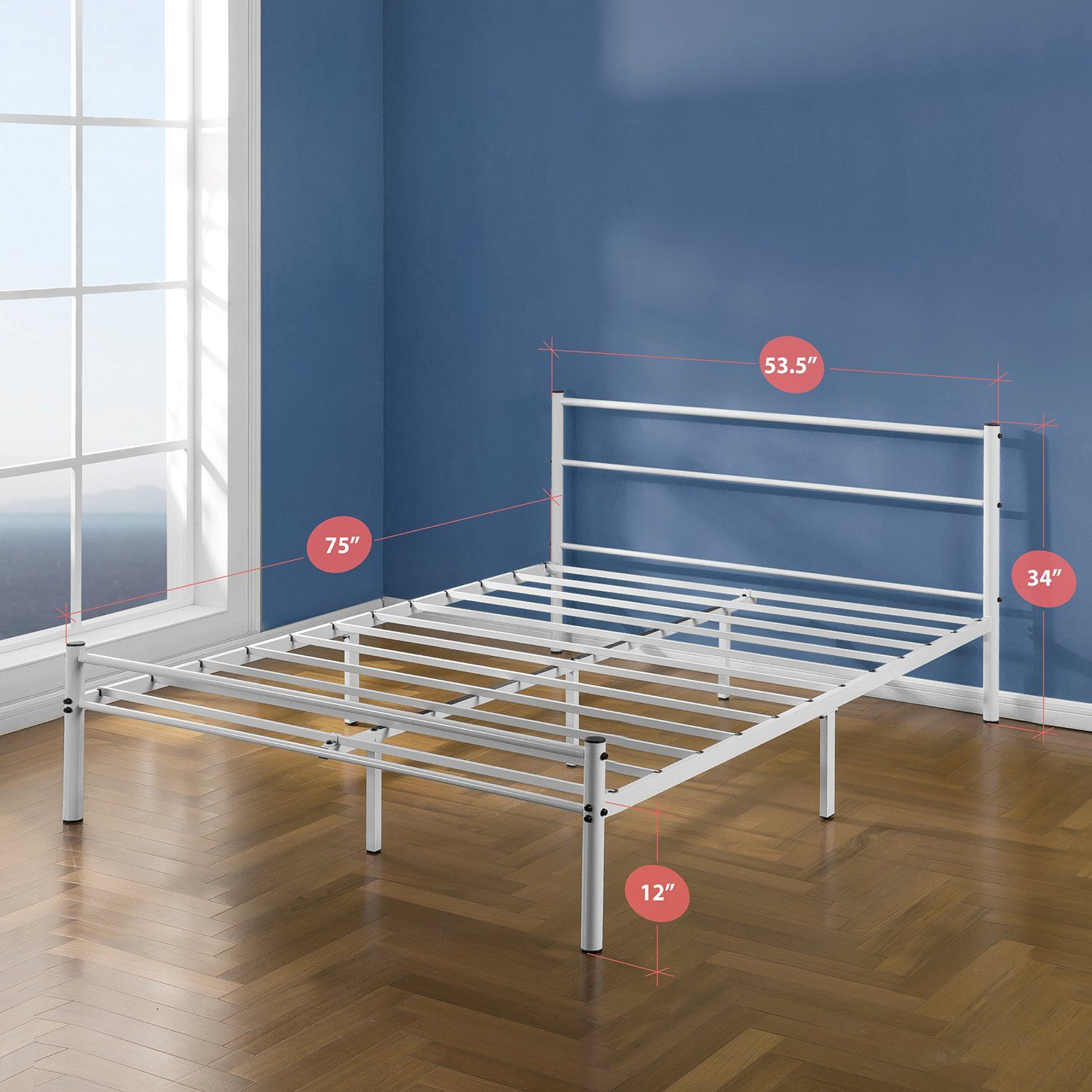 Zinus 12 Inch White Metal Platform Bed Frame With Headboard And Footboard Full Affiliate Bedfr Metal Platform Bed Platform Bed Frame Headboard And Footboard