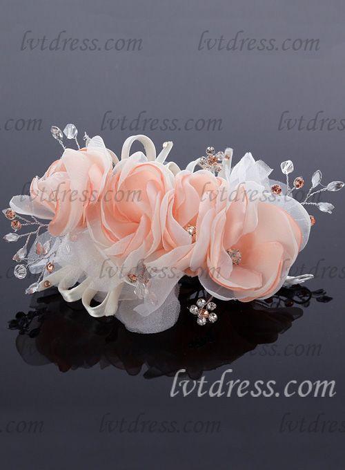 Gorgeous Satin Rhinestone Alloy Hair Flower