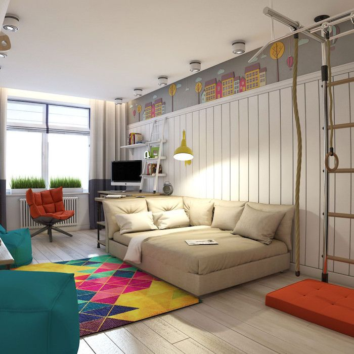 Jugendzimmer Set Ideen Großes Sofa, Das Als Bett Genutzt Wird Bunter  Teppich Grüne Hocker Ideen