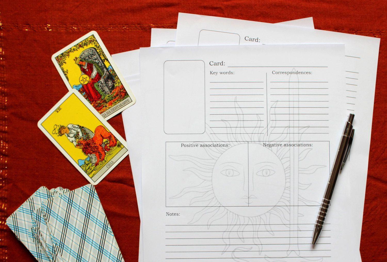 Tarot Card Study Worksheet Digital Printable Studytarot