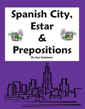 spanish city vocabulary with estar location prepositions worksheet spanish spanish grammar. Black Bedroom Furniture Sets. Home Design Ideas