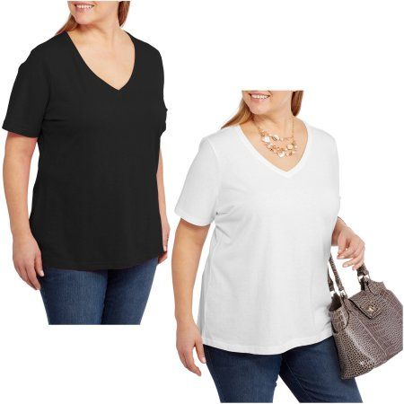 681b4a06 Faded Glory Women's Plus-Size Short Sleeve V-Neck Tee, 2 Pack Value Bundle  - Walmart.com