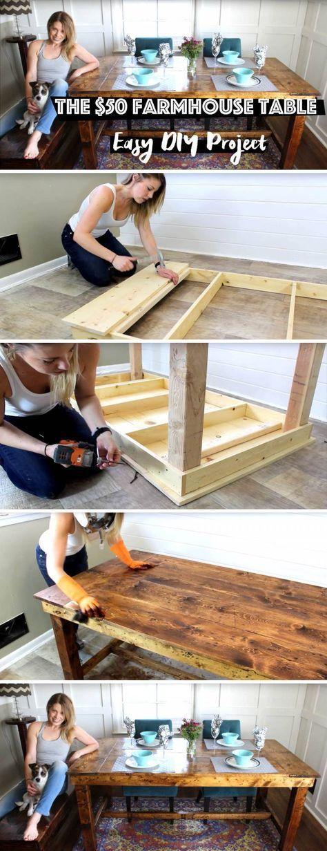 $50 Farmhouse Table - Easy DIY Project DIY Farmhouse TableDIY Farmhouse Table