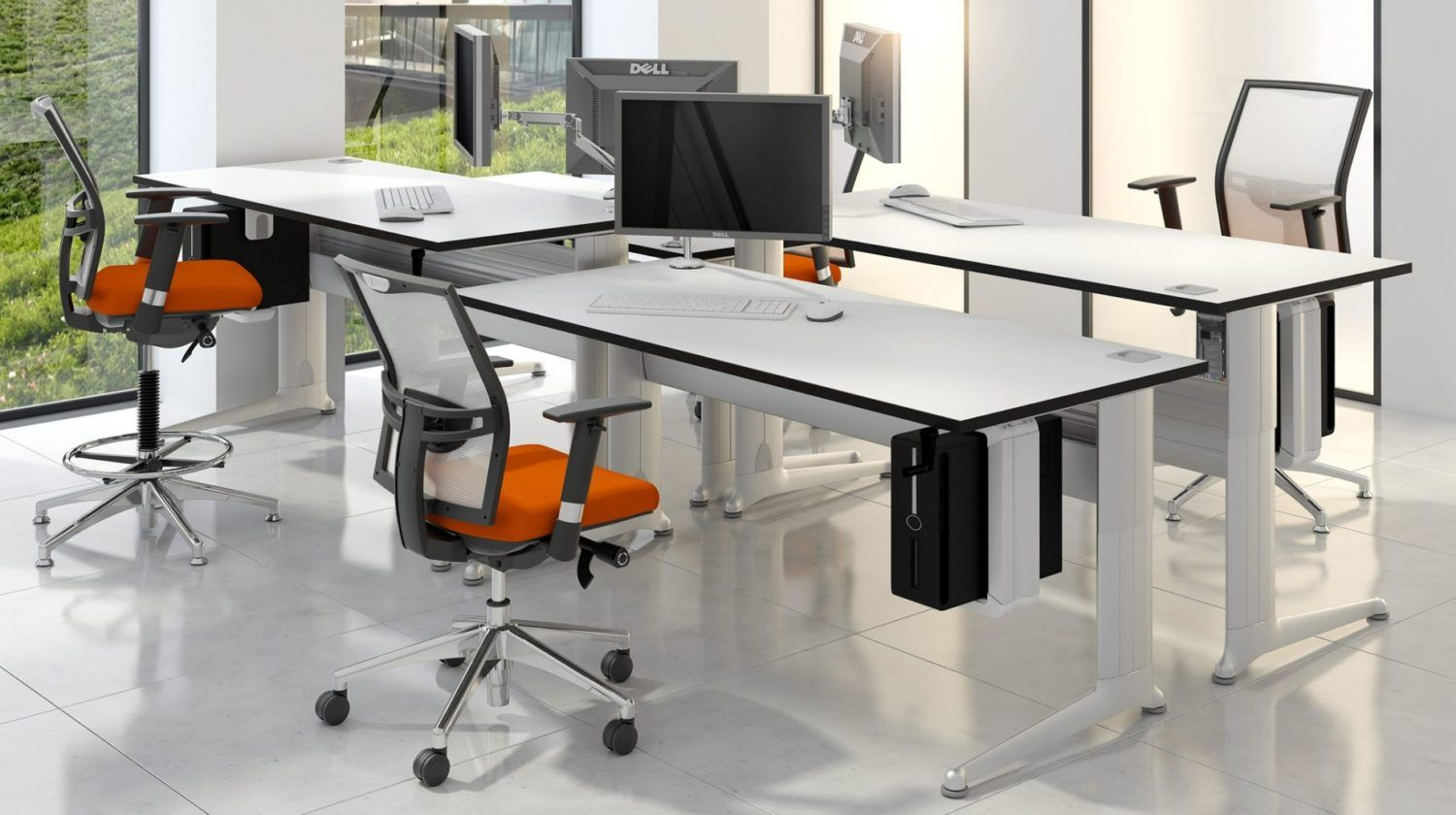 An Ergonomic Funky Orange Office Chair And White Office Desking Corporate Furniture Install Adjustable Office Desks Office Furniture Design Office Desk Designs