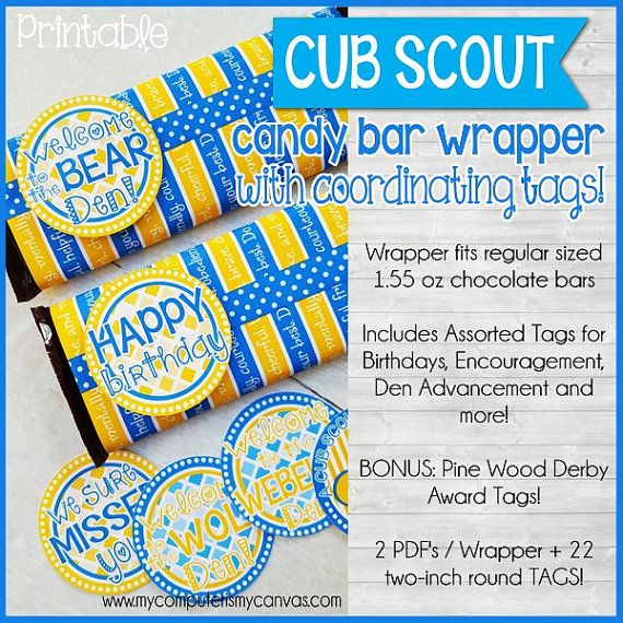 photo about Pinewood Derby Awards Printable titled CUB SCOUT Sweet Bar Wrapper + Tags for Birthday