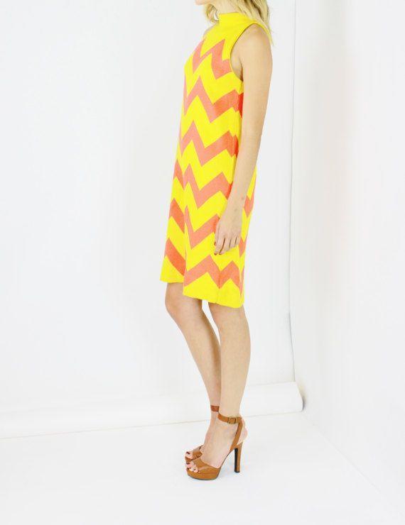 a28b87aafb Color Blocking · Overalls · Vintage 1960s Chevron Mini Dress -----------
