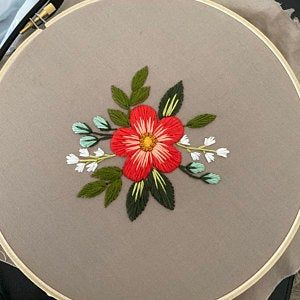 Earthy Floral Embroidery Pattern. Beginner Embroid
