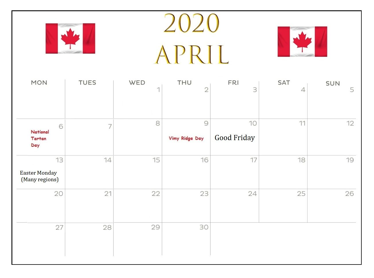 Canada April 2020 Bank Holidays Calendar In 2020 Holiday Calendar Federal Holiday Calendar Calendar Pages