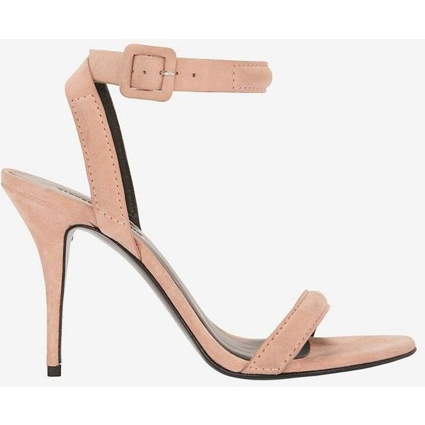 Alexander Wang Ankle Strap Suede Sandal: Blush (£320) ❤ liked on Polyvore featuring shoes, sandals, stiletto sandals, ankle wrap sandals, leather sole shoes, alexander wang shoes and stilettos shoes